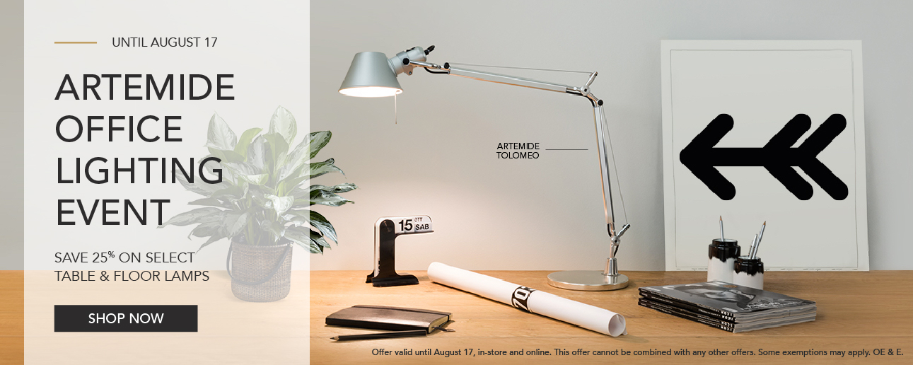 Save 25% on select Artemide table and floor lamps until August 17