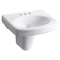 PINOIR® WALL MOUNT BATHROOM SINK WITH 4-INCH CENTERSET FAUCET HOLES, White, medium