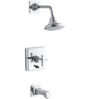 PINSTRIPE® PURE RITE-TEMP® PRESSURE-BALANCING BATH AND SHOWER FAUCET TRIM WITH CROSS HANDLE, VALVE NOT INCLUDED, Polished Chrome, medium