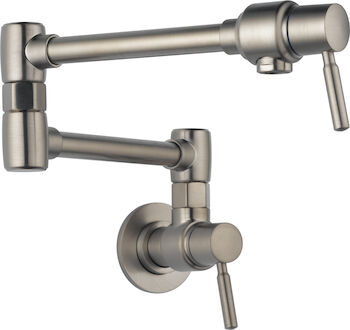 EURO WALL MOUNT POT FILLER FAUCET, Stainless Steel, large