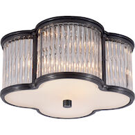 ALEXA HAMPTON BASIL 2-LIGHT 11-INCH FLUSH MOUNT LIGHT WITH CLEAR GLASS ACCENT, Gun Metal, medium