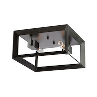 VINEYARD 2-LIGHT FLUSH MOUNT, Matte Black, medium