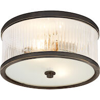 ALEXA HAMPTON RANDOLPH 2-LIGHT 11-INCH FLUSH MOUNT LIGHT, Bronze, medium