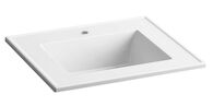 CERAMIC/IMPRESSIONS® 25-INCH RECTANGULAR VANITY-TOP BATHROOM SINK WITH SINGLE FAUCET HOLE, White Impressions, medium