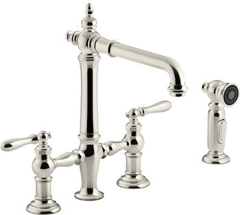 ARTIFACTS® DECK-MOUNT BRIDGE KITCHEN SINK FAUCET WITH LEVER HANDLES AND SIDESPRAY, Vibrant Polished Nickel, large