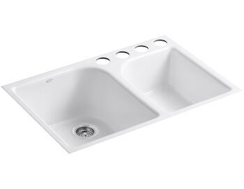 EXECUTIVE CHEF™ 33 X 22 X 10-5/8 INCHES UNDER-MOUNT LARGE/MEDIUM, HIGH/LOW DOUBLE-BOWL KITCHEN SINK WITH 4 OVERSIZE FAUCET HOLES, White, large