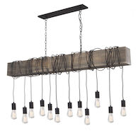 FARMHOUSE 12-LIGHT ISLAND LIGHT, Matte Black, medium