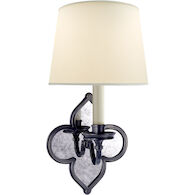 ALEXA HAMPTON LANA 1-LIGHT 7-INCH WALL LIGHT WITH NATURAL PERCALE SHADE, Gun Metal, medium
