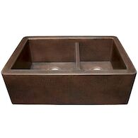 FARMHOUSE DUET DOUBLE BOWL KITCHEN SINK, Antique Copper, medium