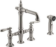 ARTIFACTS® DECK-MOUNT BRIDGE BAR SINK FAUCET WITH LEVER HANDLES AND SIDESPRAY, Vibrant Stainless, medium