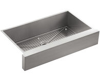 VAULT™ 35-1/2 X 21-1/4 X 9-5/16 INCHES UNDER-MOUNT SINGLE-BOWL KITCHEN SINK, STAINLESS STEEL WITH SHORT APRON FOR 36 CABINET, Stainless Steel, medium