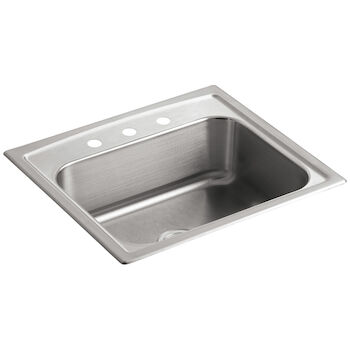 TOCCATA™ 25 X 22 X 7-11/16 INCHES TOP-MOUNT SINGLE-BOWL KITCHEN SINK WITH 3 FAUCET HOLES, Stainless Steel, large