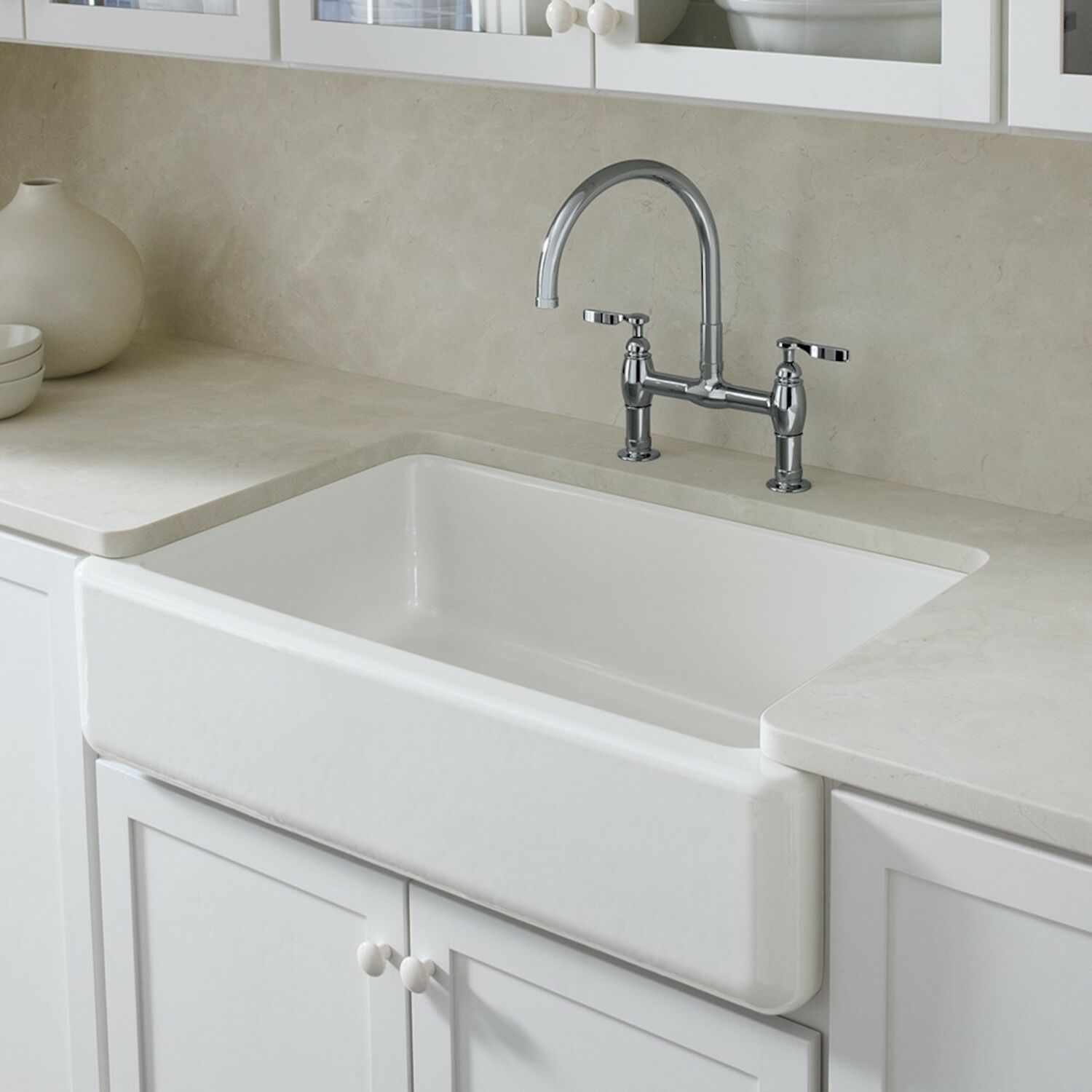Kohler Whitehaven Self Trimming 35 11 16 X 21 9 16 X 9 5 8 Inches Under Mount Single Bowl Kitchen Sink With Tall Apron K 6489 0 Robinson
