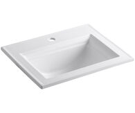 MEMOIRS® STATELY DROP IN BATHROOM SINK WITH SINGLE FAUCET HOLE, White, medium