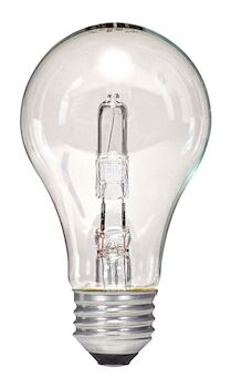 HALOGEN LIGHT BULB 53W 120V 2900K MEDIUM BASE E26 A19, CLEAR, 2-PACK, , large