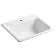 MAYFIELD™ 25 X 22 X 8-3/4 INCHES TOP-MOUNT SINGLE-BOWL KITCHEN SINK, White, medium
