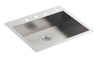 VAULT™ 25 X 22 X 6-5/16 INCHES SINGLE BOWL DUAL-MOUNT KITCHEN SINK WITH 4 FAUCET HOLES, Stainless Steel, medium