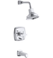 MARGAUX® RITE-TEMP® PRESSURE-BALANCING BATH AND SHOWER FAUCET TRIM WITH PUSH-BUTTON DIVERTER AND CROSS HANDLE, Polished Chrome, medium
