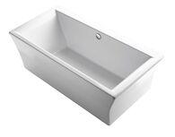 STARGAZE® 72 X 36 INCHES FREESTANDING BATHTUB WITH FLUTED SHROUD AND CENTER DRAIN, White, medium