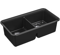 CAIRN® 33-1/2 X 18-5/16 X 10-1/8 INCHES NEOROC® UNDER-MOUNT DOUBLE-EQUAL KITCHEN SINK WITH SINK RACK, Matte Black, medium