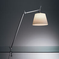 TOLOMEO MEGA LED TABLE LAMP WITH 14-INCH DIFFUSER AND TABLE CLAMP, Aluminum/Parchment, medium