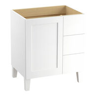 POPLIN® 30-INCH BATHROOM VANITY CABINET WITH LEGS, 1 DOOR AND 3 DRAWERS ON RIGHT, Linen White, medium
