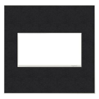 ADORNE 2-GANG REAL MATERIAL WALL PLATE, Black Leather, large