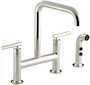PURIST® TWO-HOLE DECK-MOUNT BRIDGE KITCHEN SINK FAUCET WITH 8-3/8-INCH SPOUT AND MATCHING FINISH SIDESPRAY, Vibrant Polished Nickel, small