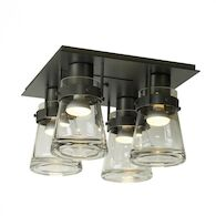 ERLENMEYER 4-LIGHT SEMI-FLUSH LIGHT, Burnished Steel, medium