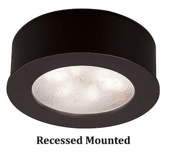 ROUND LEDme® BUTTON LIGHT 3000K WARM WHITE RECESSED OR SURFACE MOUNT, Black, large