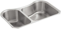 STACCATO™ 31-5/8 X 19-9/16 X 8-3/8 INCHES UNDER-MOUNT EXTRA-LARGE/MEDIUM DOUBLE-BOWL KITCHEN SINK, Stainless Steel, medium