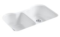 HARTLAND® 33 X 22 X 9-5/8 INCHES UNDER-MOUNT DOUBLE-EQUAL KITCHEN SINK WITH 5 FAUCET HOLES, White, medium