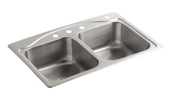 CADENCE® 33 X 22 X 8-5/16 INCHES TOP-MOUNT DOUBLE-EQUAL KITCHEN SINK WITH 4 FAUCET HOLES, Stainless Steel, large
