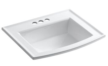 ARCHER® DROP IN BATHROOM SINK WITH 4-INCH CENTERSET FAUCET HOLES, White, large