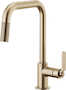 LITZE PULL DOWN FAUCET WITH SQUARE SPOUT AND INDUSTRIAL HANDLE, Brilliance Luxe Gold, small