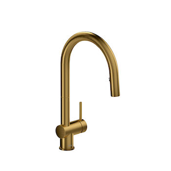 AZURE KITCHEN FAUCET WITH 2-JET BOOMERANG HAND SPRAY SYSTEM, Brushed Gold, large