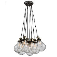 EDISON 8-LIGHT CLUSTER PENDANT, Matte Black and Vintage Brass, medium