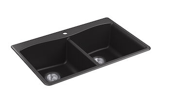 KENNON® 33 X 22 X 9-5/8 INCHES NEOROC® TOP-/UNDER-MOUNT DOUBLE-EQUAL KITCHEN SINK, Matte Black, large