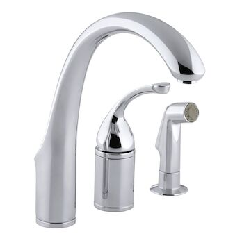 FORTÉ® 3-HOLE REMOTE VALVE KITCHEN SINK FAUCET WITH 9-INCH SPOUT AND MATCHING FINISH SIDESPRAY, Polished Chrome, large