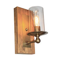 LEGNO RUSTICO 1-LIGHT WALL SCONCE, Burnished Brass, medium