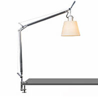 TOLOMEO TABLE LAMP WITH SHADE AND CLAMP, Aluminum/Parchment, medium