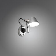 TOLOMEO MICRO LED WALL SPOT LIGHT WITH SWITCH, Aluminum, medium