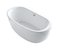 SUNSTRUCK™ 66 X 36 INCHES OVAL FREESTANDING BATHTUB WITH FLUTED SHROUD AND CENTER DRAIN, White, medium