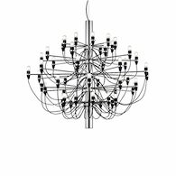2097 30-LIGHT CHANDELIER BY GINO SARFATTI, Chrome, medium