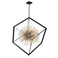 SUNBURST 12-LIGHT CHANDELIER, Matte Black and Satin Brass, medium