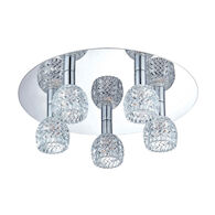 WAVE 5-LIGHT FLUSH MOUNT, Chrome, medium