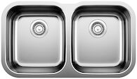 ESSENTIAL UNDERMOUNT DOUBLE KITCHEN SINK, Stainless Steel, medium