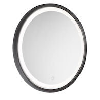 REFLECTIONS 23-INCH 3000K LED ROUND MIRROR, Matte Black, medium