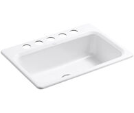 BAKERSFIELD™ 31 X 22 X 8-5/8 INCHES UNDER-MOUNT SINGLE-BOWL KITCHEN SINK WITH 5 FAUCET HOLES, White, medium