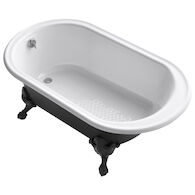 IRON WORKS® HISTORIC 66 X 36 INCHES FREESTANDING OVAL BATHTUB WITH REVERSIBLE DRAIN, IRON BLACK EXTERIOR AND SAFEGUARD® FINISH, White, medium